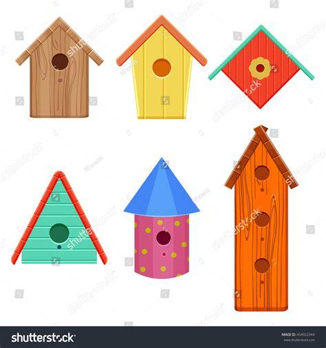 colorful bird houses colorful bird houses set vector illustration stock vector