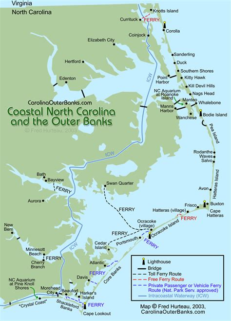 map of outer banks nc coastal guide map