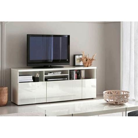 Buffet Meuble TV GLOSSY Blanc 3 Portes 4 Niches   Achat