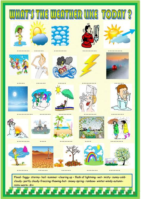 weather and seasons matching activity worksheet free