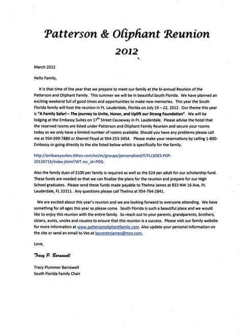 17 Best Images About Family Reunion Ideas On Pinterest Reunions Program Template And Family Family Letter Template