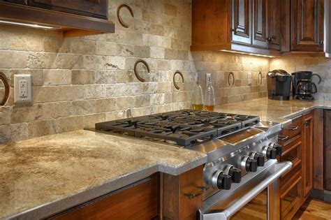 Rustic Kitchen Backsplash Ideas Custom Height Backsplash With Horseshoe Prints Country Rustic Kitchen Granite Marble
