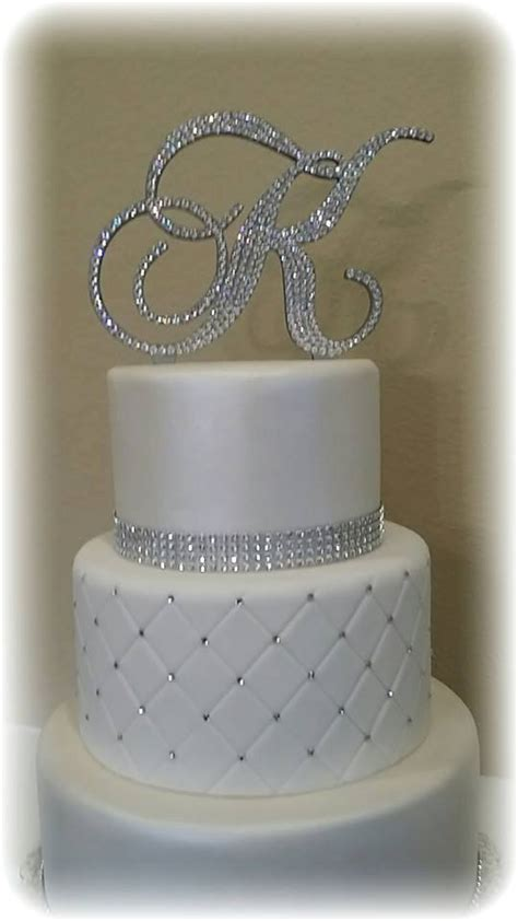 Wedding monogram wedding cake topper crystal initial any letter a b