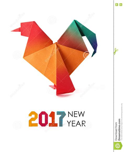 New Years Origami - rooster origami stock illustration image 80568357