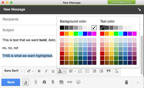 text color how do i highlight text in gmail ask dave