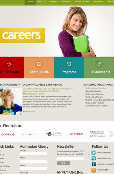 Free Career Wordpress Template Free Templates Online Career Page Template