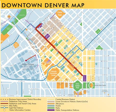 map of denver colorado downtown denver map pictures to pin on pinsdaddy