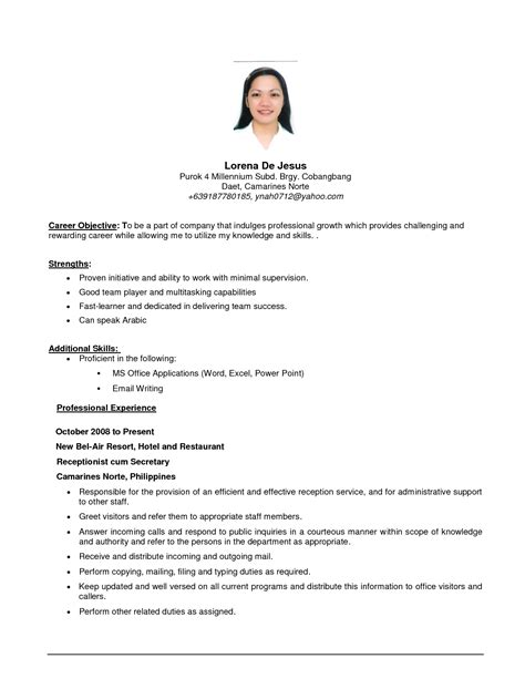Job Purpose Resume Format by Job Resume Resume Cv