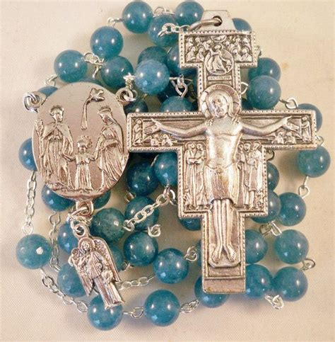 Handmade Catholic Rosaries - handmade catholic rosary beautiful blue angelite gemstone