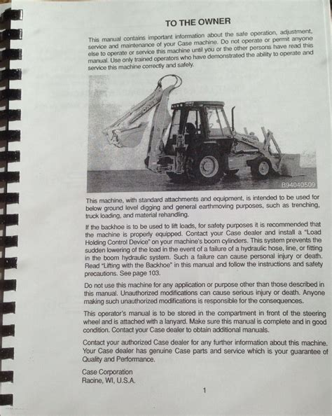 case   super   sl sl loader backhoe operators manual  finney equipment