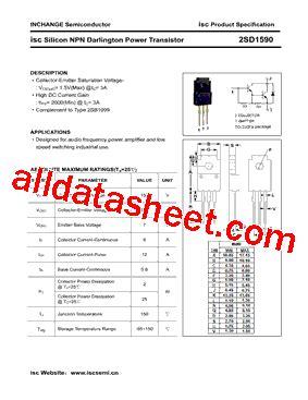 transistor company 2sd1590 datasheet pdf inchange semiconductor company limited