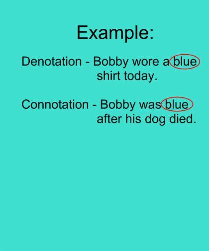 exle of denotation denotation connotation and implication