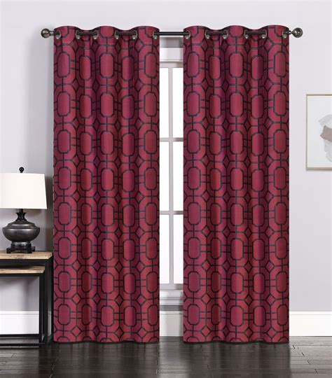 burgundy and black curtains pair of maritza jacquard burgundy black window curtain