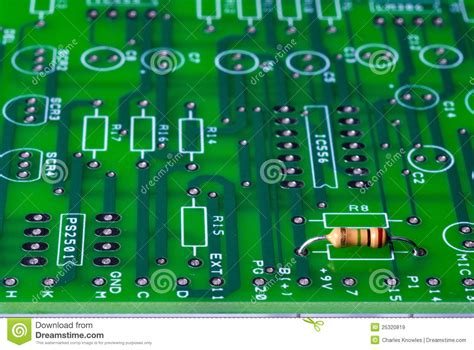 resistors on a circuit board circuit board with a single resistor in it royalty free stock images image 25320819