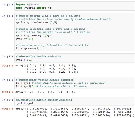 tutorial python matrices tutorial deep learning in pytorch i am trask