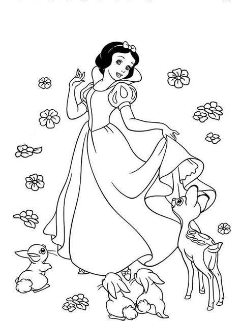 how to draw snow white and her friends coloring page