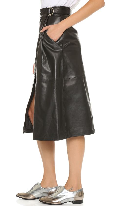 whistles wrap leather midi skirt black in black lyst