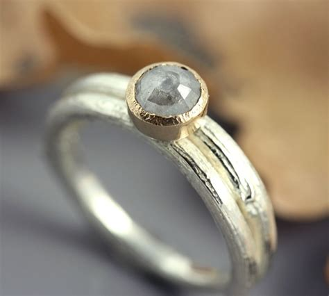 twig ring on pinterest branch ring twig engagement wrapped sterling twig ring with rose cut diamond