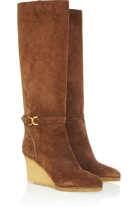 chlo 233 suede wedge knee boots in brown lyst