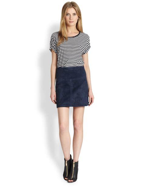 blue suede skirt redskirtz