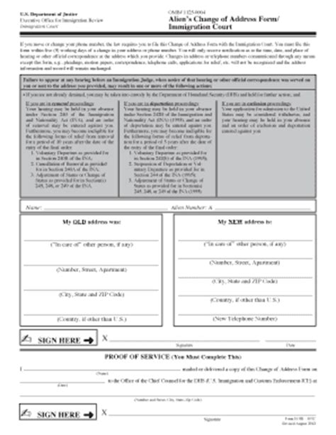 Immigration Court Search Change Of Address Immigration Court Fill Printable Fillable Blank Pdffiller