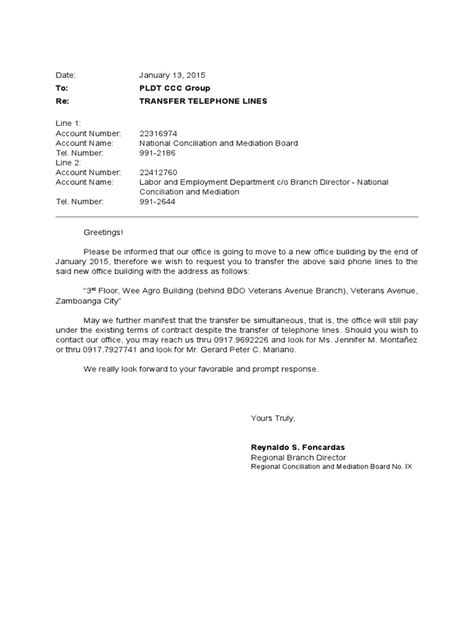 Landline Phone Transfer Letter Format letter of request for transfer of lines pldt