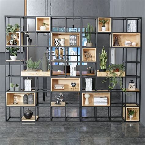 Shelf Partitions by Industrial Solid Wood Shelf Partition Porch Iron Screen