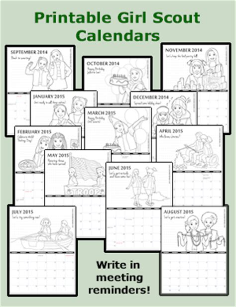 scout calendar template crafts scout crafts free printables recycled