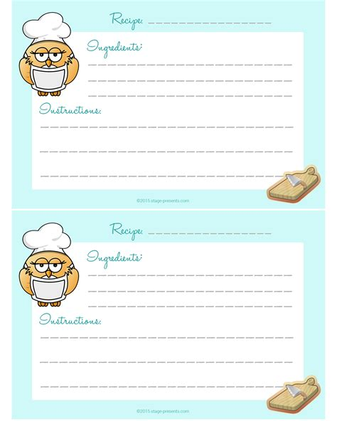 owl printable recipe cards easy recipe for mixed vegetable quiche archives stage