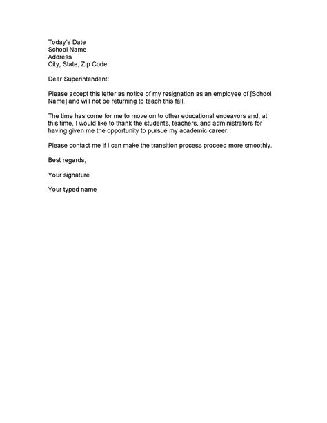 Exle Resignation Letter School Resignation Letter Format Teaching Resignation Letter Appropriate Realistic Reasons