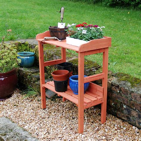 potting benches uk wood furniture planting potting table outdoor garden