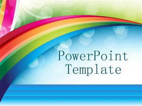 Gorgeous Rainbow Background Ppt Template Ppt Powerpoint Rainbow Template