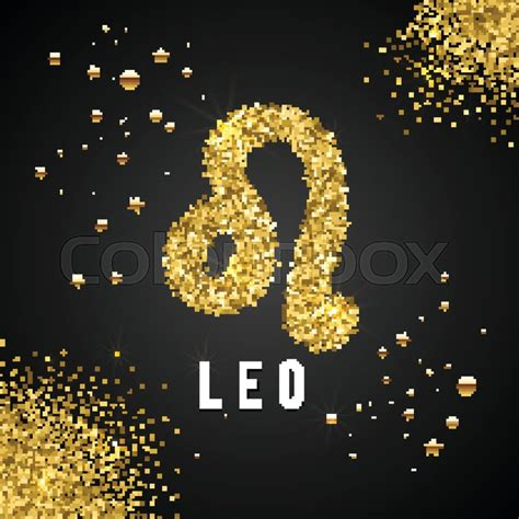zodiac sign gold tinsel scattered  stock vector
