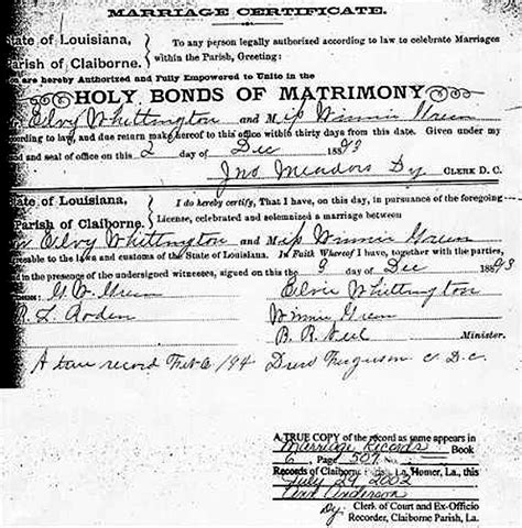 Louisiana Marriage Certificate Records Usgenweb Archives Claiborne Parish La Marriage Records