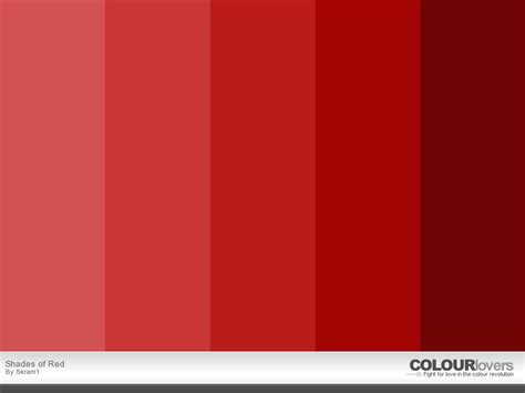 different shades of red red