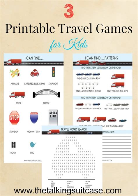 printable games for students printable travel games for kids