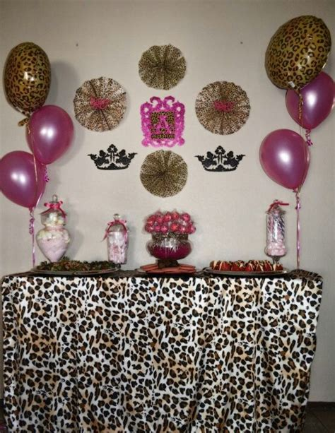 Leopard And Pink Baby Shower Decorations pink and leopard baby shower dessert table baby shower