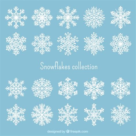 white snowflakes collection vector free download