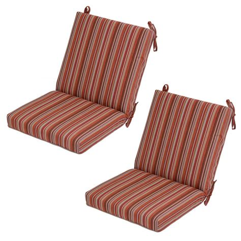 Striped Dining Chair Cushions Dragonfruit Stripe Mid Back Outdoor Dining Chair Cushion 2 Pack 7250 02240600 The Home Depot