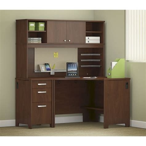 Cherry Corner Desk With Hutch Bush Envoy Corner Computer Desk With Hutch In Hansen Cherry Env005hc
