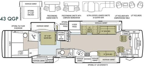 bus motorhome floor plans 2010 tiffin allegro bus 43qgp tiffin motorhomes for sale