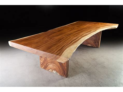 long contemporary dining table exotic monkey wood