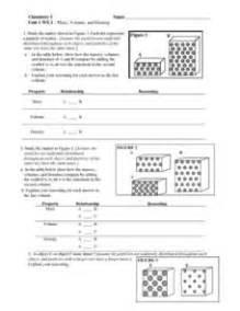 mass volume and density 6th 10th grade worksheet