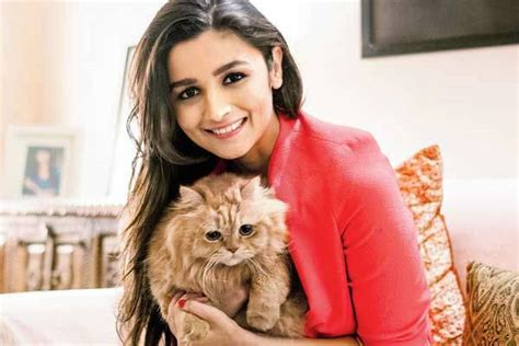 cat girl actress bollywood actress alia bhatt poses with her cute cat