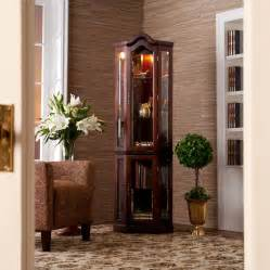 Corner Curio Cabinets On Ebay Lighted Corner Curio Wood Cabinet Mahogany Display Case