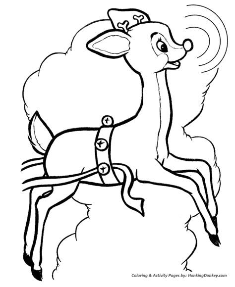 Rudolph And Sleigh Coloring Page Coloring Pages Rudolph Reindeer Coloring Pages