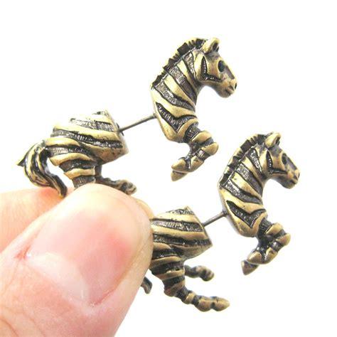 3d realistic zebra shaped animal stud earrings