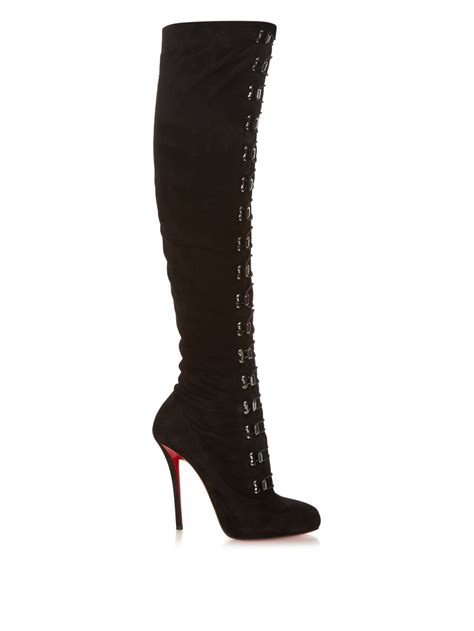 above knee boots lyst christian louboutin top croche suede the knee