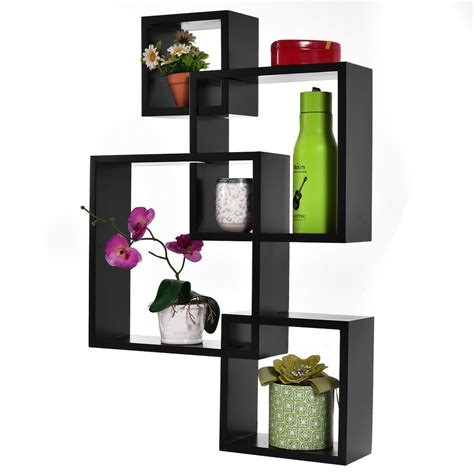 square wall shelves black intersecting 4 square floating shelf wall mounted home furniture decor new ebay