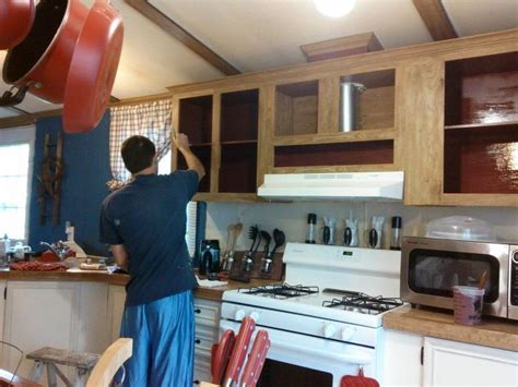 painting mobile home kitchen cabinets mobile home gets rustic farmhouse kitchen makeover